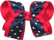 Large Navy with Silver Dots over Red Double Layer Overlay Bow