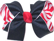 Medium Navy over Red and White Zebra Stripes Double Layer Overlay Bow