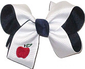 Medium Monogrammed Apple on White over Navy Bow