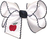 Medium Monogrammed Apple on White and Navy Moonstitch Bow