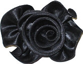 Large Black Satin Rosette Bow